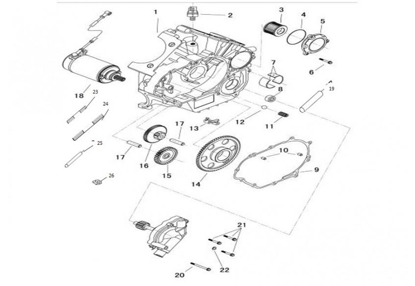 Картер двигателя, левая половина