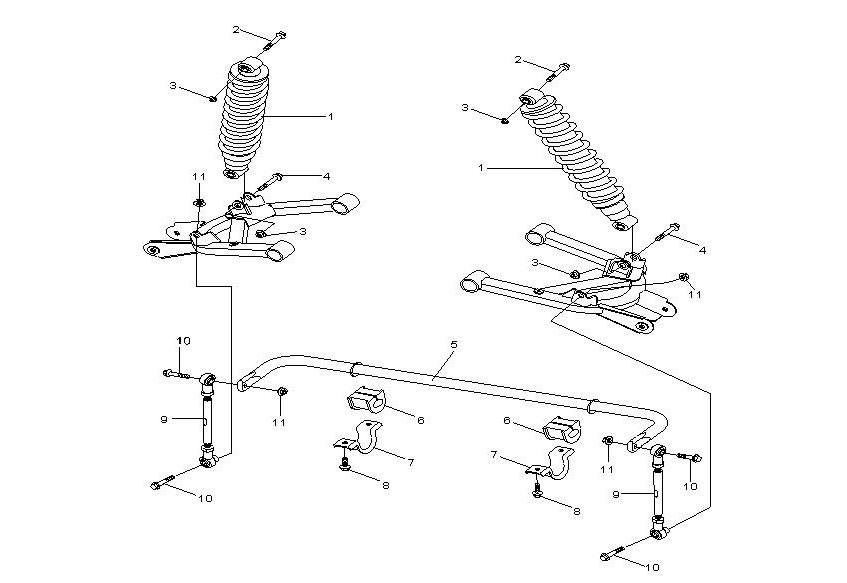 Задние амортизаторы и стабилизатор поперечной устойчивости