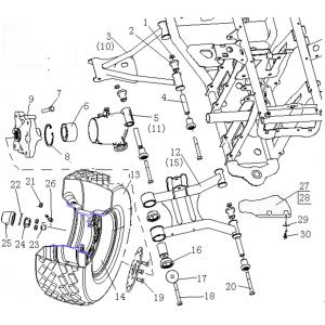 Запчасти задних колес квадроцикла Stels ATV 300B