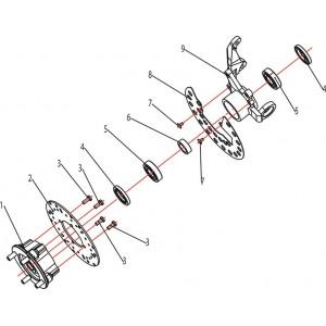 Запчасти ступицы передних колес квадроцикла Stels ATV 500K-GT