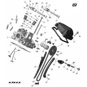 Запчасти головки цилиндра двигателя (задняя) снегохода Stels S800 Rosomaha
