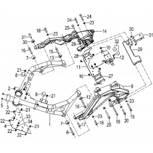 Запчасти рамы мотоцикла Stels 600 Benelli - передняя часть
