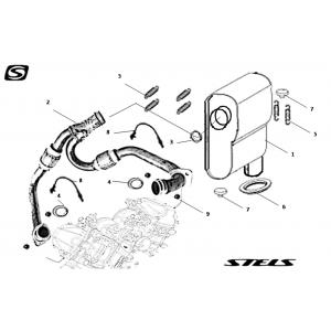 Система выпуска отработавших газов для двигателя (глушителя) снегохода Stels S800 Rosomaha
